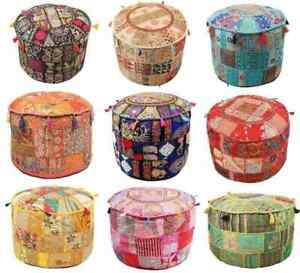 """10 Pcs LOT OF 22x22"""" Round Ottoman Pouf Cover Cotton Footstool Seat Case Covers"""