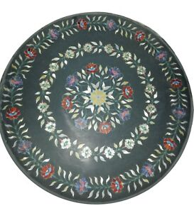 """24"""" black Marble Coffee Center Table Top inlay work Home Decor"""
