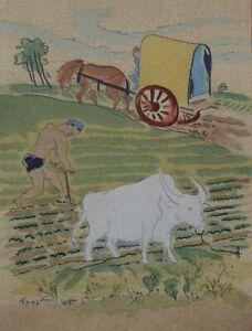 FOUJITA :  Les paysans  - LITHOGRAPHIE originale en couleur signée #1928