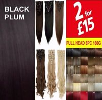 Hair Extensions Brown Blonde Clip in on Full Head Synthetic Remy Long Like Human