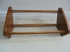 Vintage wooden book trough, mid century 1960s 70s, solid teak shelf display