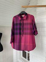 Women's Burberry Brit Purple Nova Check Plaid 3/4 Sleeve Shirt Size L