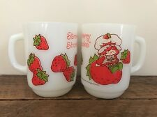 2 STRAWBERRY SHORTCAKE Fire King Anchor Hocking Vintage Retro Coffee Mugs Cups