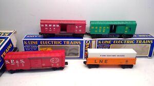 VINTAGE Lot 4 K-Line- 0/07 Scale-3  BOX CARS/1 Gondola- Gently Used-  (O171)