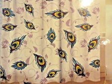 13 pc PEACOCK Feathers  Purple~Teal Blue~SHOWER CURTAIN~Roller Beaded HOOKS~