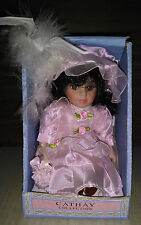 Cathay Collection Porcelain Doll Pink Dress Black Hair Brown Eyes