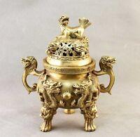 China Brass carved Dragon&FOO FU Dog Incense Burner/Censer Statue