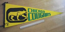 Chicago Cougars vintage early 1970's pennant NICE!  WHA Hockey