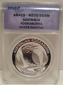 2012-P AUSTRALIA $1 KOOKABURRA SILVER DOLLAR ANACS MS 70 DCAM GEM LQQK