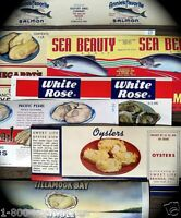 7 Different OYSTERS SALMON FISH Advertising Can Label Collection 1930s NOS