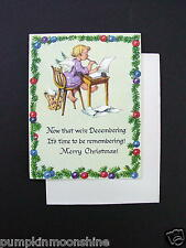Unused Erica Von Kage Brownie Xmas Greeting Card Angel at Desk Writing a Letter