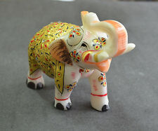 "5"" Marble Elephant Statue Sculpture Hand Painting Fine Art Decor Best Gifts H681"