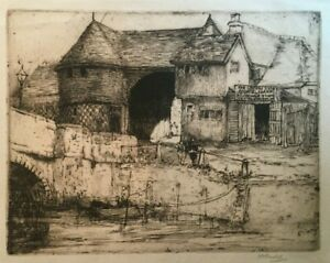 Magaret M. Rudge (1875-1972) Signed Etching The Crispin Inn, Sandwich UK