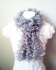 Fashion  Ruffle Hand Knit Scarf Sashay Platinum,Gray/Silver Metallic
