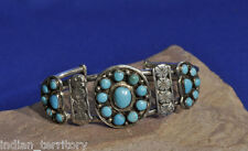 Zuni Indian Silver Bracelet with Petit Point Turquoise Settings c.1930s-40s