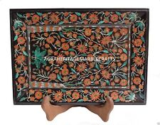 "12""x10"" Black Marble Tray Carnelian Malachite Inlay Floral Art Decorative Gift"