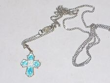 "18"" Necklace with 1/2""  Blue tinted Cross Medal Pendant"