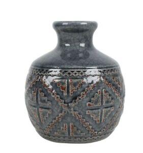 Leander Blue Ceramic Bottle Vase With Brushed Boho Tribal Design 18cmx13cm M&C