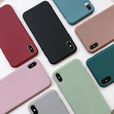 For iPhone XR X XS Max 7 8Plus Cover Soft Silicone Candy Color Simple Phone Case