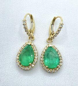 8.03 ct NATURAL DIAMOND  columbian EMERALD dangle earrings 14k yellow gold VIDEO
