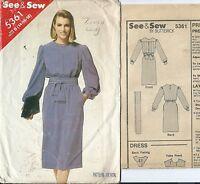 B 5361 sewing pattern Stylish DRESS blouson bodice SASH sew sizes 14,16,18 UNCUT