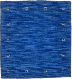 Hand-Loomed Square Rug Solid Blue 3X3 Contemporary Oriental Modern Decor Carpet