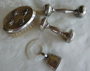 Vintage WEBSTER Sterling Silver Baby Rattle Mother of Pearl Teething Ring Brush