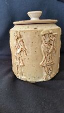 A LARGE SCOTTISH S.T. STUDIO POTTERY ,KILTED MUSICIAN DECORATIVE JAR WITH LID .