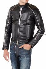 Dsquared2 Black Leather Biker Jacket IT52 Dsquared New Perfect Gift