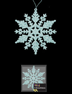 6 Pale Ice Blue Snowflake Glitter christmas Tree Hanging Decorations FREE P&P