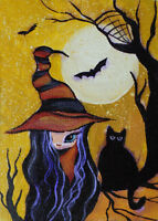 """ACEO Original Halloween Painting """"Fairy Girl with Cat"""""""