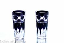 Antique Old Cut Glass Beautiful Blue Color Collectible Pair Of Glasses.i31-17 US