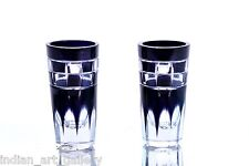Antique Old Cut Glass Beautiful Blue Color Collectible Pair Of Glasses. I31-17