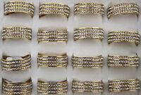 Neu 25Stk Gold-P Edelstahl Ringe ring SonderPosten 3-reihiger Strass Top Rings