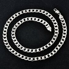 Fashion Mens White Gold Filled Necklace curb link Chain stainless steel necklace