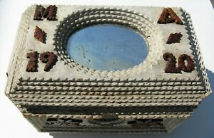 "Antique Folk Tramp Art Wood Jewelry Box Dated 1920 ""MA"" White Green Mirrors"