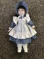 "Vintage Porcelain Baby Doll - 17"" Tall - Dark Hair w Blue Dress"