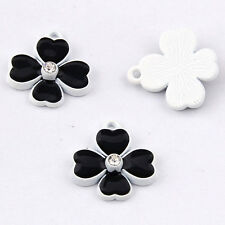 Crystal Lucky Clover Charm Pendant Beads Accessories Jewelry Small Pendant V1045