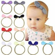 10 Pack Rabbit Ear Solid Hair Bow Nylon Headband Accessories Hairband Baby Girl