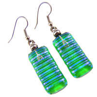 """DICHROIC Glass EARRINGS Verdigris Green Teal Blue Striped Dangle Surgical 1"""""""