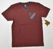 Rusty PROTECTOR Mens V-Neck 100% Cotton T-Shirt Burgundy Large NEW
