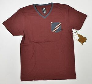 Rusty Protection Hommes Col V 100% T-Shirt Bordeaux Large Neuf