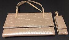 2 pc Faux Reptile WALLET CLUTCH purse w/ key chain mirror lipstick case taupe