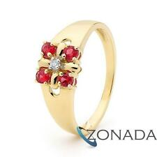 Created Ruby Diamond 9ct Solid Yellow Gold Ring Size P 7.75 25264/cr