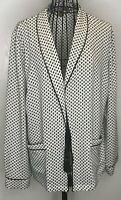 Pretty BIBA Black White Patterned Tassel Jacket Blazer UK 14 Designer On Trend