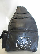 LEATHER BACKPACK BLACK W/ IRON CROSS SILVER INLAY DESIGN LOTS OF ROOM #BP201C-SO
