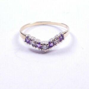 Amethyst Wishbone ring 9 carat yellow gold size N