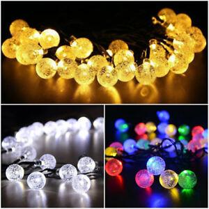 30 LED Solar Lighting String Outdoor crystal Ball Garden Xmas Party Decor Lights