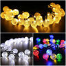 30 LED Crystal Ball Solar Powered String Lights Garden Outdoor Fairy Bubble Lamp