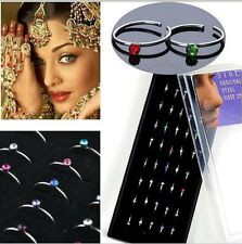 Lot Of 3 Fashion Crystal Stainless Steel Nose Stud Ring Hoop Body Piercing LOOK.